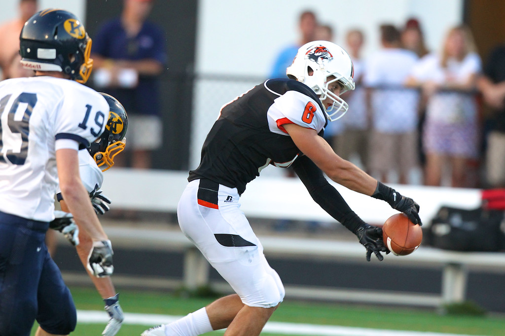 . David Turben - The News-Herald Chagrin Falls wide receiver Alex Moore (8) almost makes a fingertip catch.