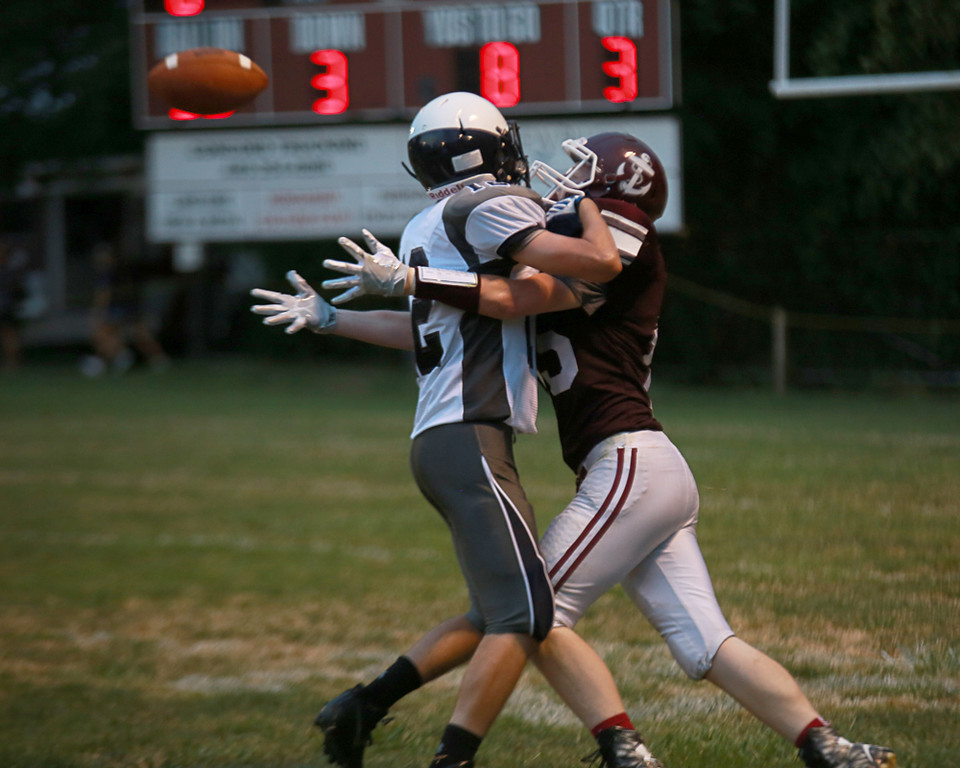. Coleen Moskowitz - The News-Herald Mitch Yommer draws a pass interference call during the Fairport vs. Leetonia game on Aug. 27 at Fairport.