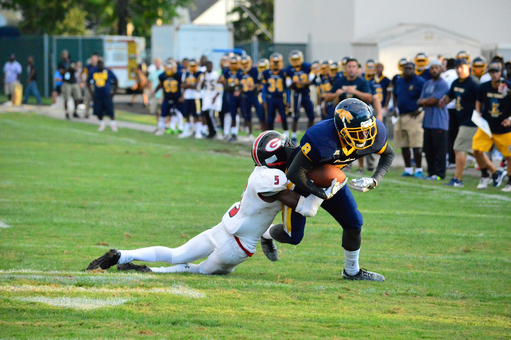 . Brittany Chay - The News-Herald Euclid\'s Ramone Collins, shown against Glenville on Aug. 25 at Euclid.