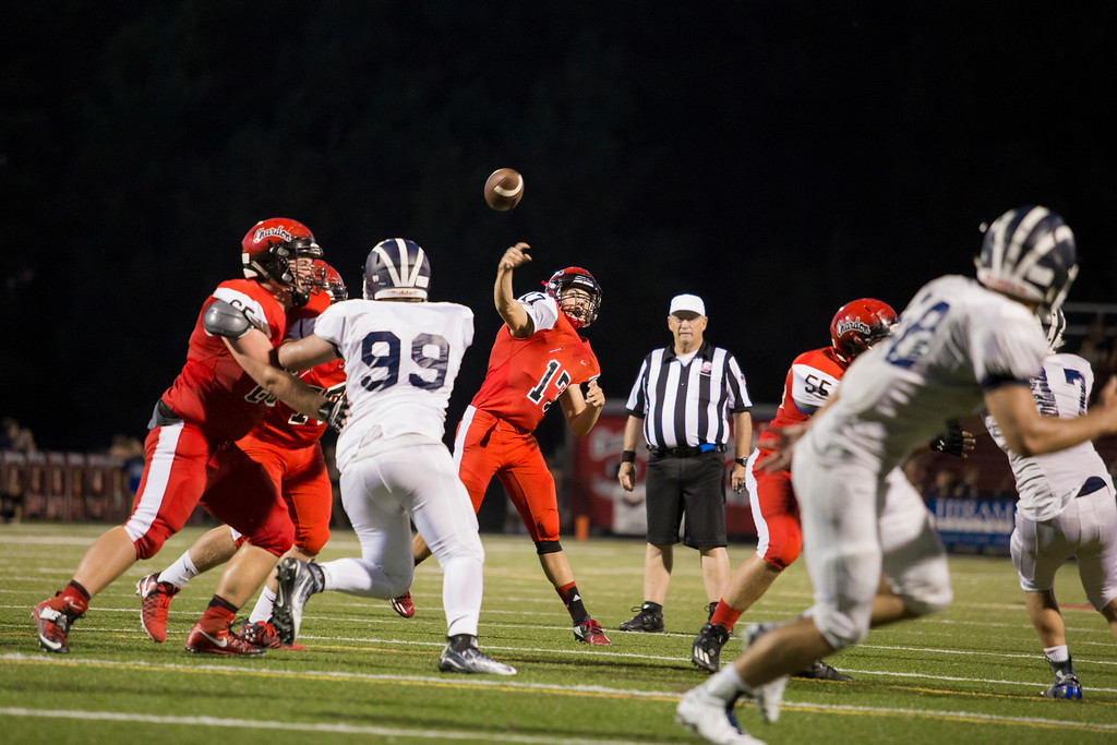 . Carrie Garland - The News-Herald Chardon QB Tommy Benenati throws a pass intended for Ethan Ziegenfu.