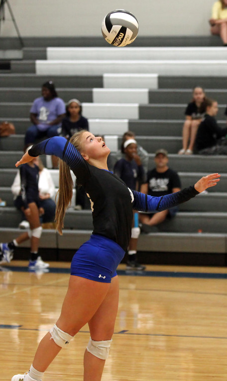 . Randy Meyers - The Morning Journal Gretchen Hack of Midview serves  against Columbia during the first set on Saturday Sept 01