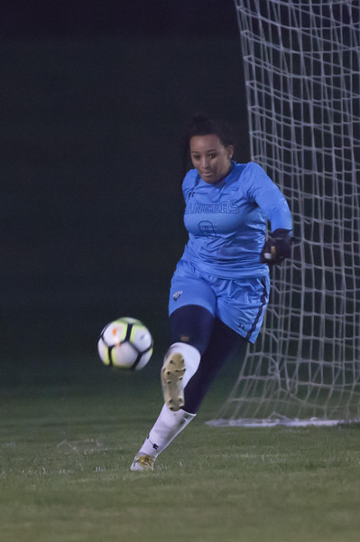 Jen Forbus - The News-Herald<br /> Ranger goalkeeper, Alexis Klingelheber, gives the ball a boot.
