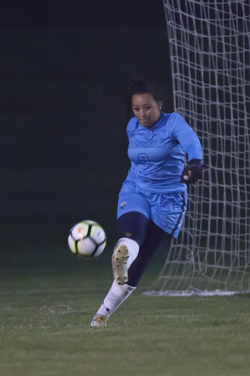 . Jen Forbus - The News-Herald Ranger goalkeeper, Alexis Klingelheber, gives the ball a boot.