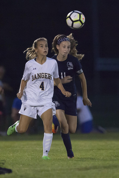 Jen Forbus - The News-Herald<br /> Ranger Nadia Stofan and Bulldog Jordan Fusco go after the ball in their matchup September 5.