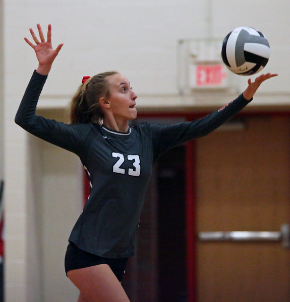 Randy Meyers - The Morning Journal<br> Fairview's Jade Peace serves against Lutheran West during the second set on Sept. 6.