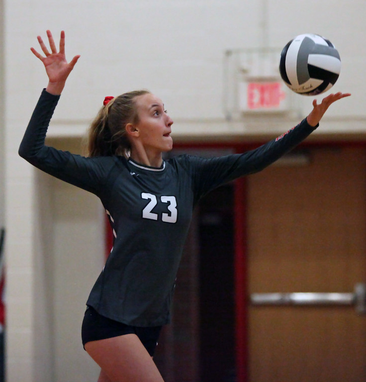 . Randy Meyers - The Morning Journal<br> Fairview\'s Jade Peace serves against Lutheran West during the second set on Sept. 6.