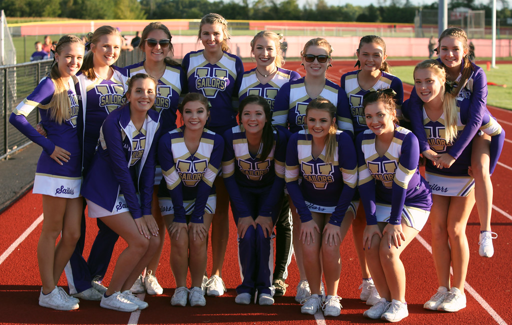 . Randy Meyers - The Morning Journal<br> The Vermilion cheerleaders pose prior to Friday\'s game against Firelands.