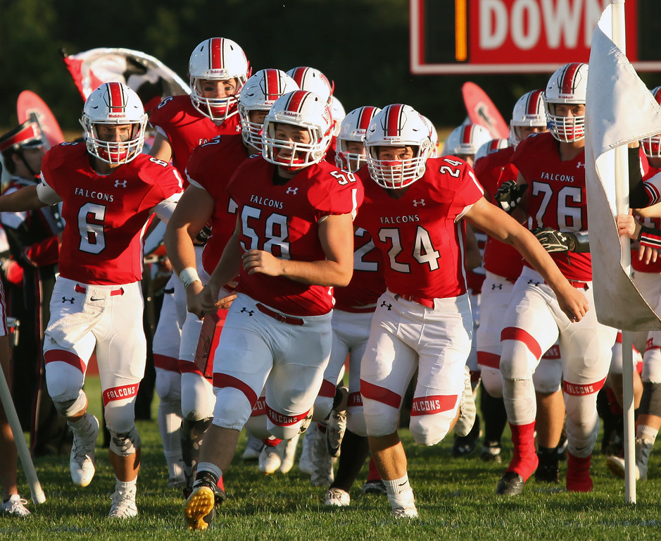 . Randy Meyers - The Morning Journal<br> The Firelands Falcons take the field against Vermilion on Friday Sept. 8.