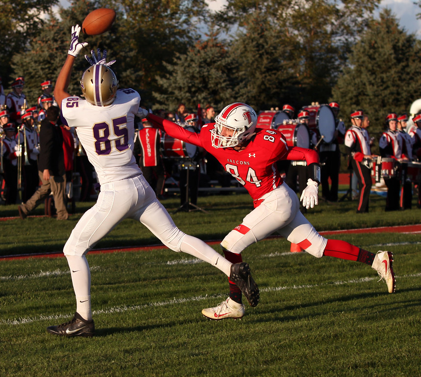 . Randy Meyers - The Morning Journal<br> Vermilion\'s Luke Pena beats Firelands\' Xavier Irizarry to the corner of the endzone, but he can\'t make the catch during the first quarter on Sept. 8.