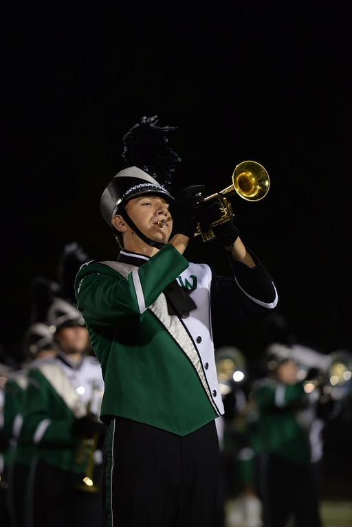 . Aimee Bielozer - The Morning Journal<br> A trumpet player in the Westlake marching band plays during halftime on Sept. 8.