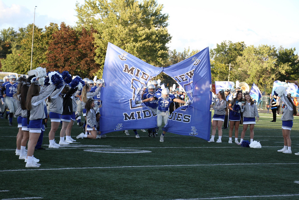 . Nicholas Pfeifer - The Morning Journal<br> The Midview Middies take the field to face the North Olmsted Eagles on Sept. 8.