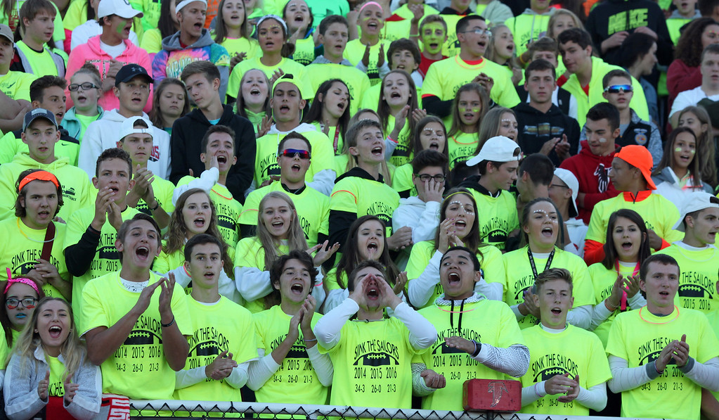 . Randy Meyers - The Morning Journal<br> The Firelands student section cheers on their team against Vermilion during the second quarter on Sept. 8.