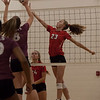 Jen Forbus - The Morning Journal<br> Fairview's Jade Peace tips the ball over the net as Wellington's Alexis Lehmkuhl tries to block her shot on Sept. 8.