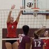 Jen Forbus - The Morning Journal<br> Fairview's Madelyn Bochenek attempts a block against the Wellington Dukes on Sept. 8.