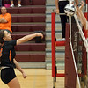 Jen Forbus - The Morning Journal<br> North Olmsted's JordanTessmer spikes the ball straight into the block of Rocky River's Rachael Waite on Sept. 8.