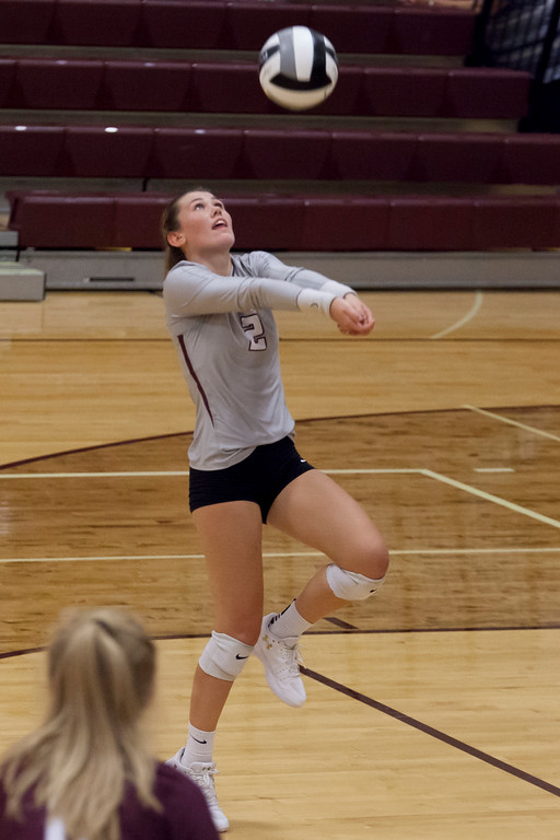 . Jen Forbus - The Morning Journal<br> Rocky River\'s Raygan Murray bumps the ball in the Pirates\' contest against the North Olmsted Eagles on Sept. 8.