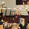 Jen Forbus - The Morning Journal<br> North Olmsted's Jessica Yelsik tries to spike around the block of Rocky River's Ava Rauser (6) and Molly Sheridan on Sept. 8.
