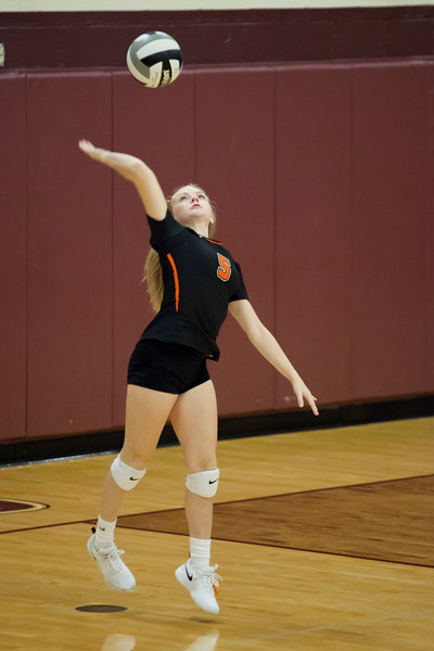 Jen Forbus - The Morning Journal<br> Samantha Wengstrom of North Olmsted serves during a match at the Rocky River Invitational on Sept. 8.