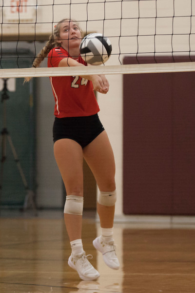 Jen Forbus - The Morning Journal<br> Fairview's Emma Szoradi bumps the ball in the Warriors' match against the Wellington Dukes at the Rocky River Invitational on Sept. 8.