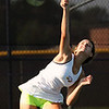 Avon's July Lorincz serves during a single match against Amherst on Sept. 10. Randy Meyers -- The Morning Journal