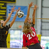 Barry Booher - The News-Herald<br /> Riverside's ( 9 ) Olivia Bell blocks the spike from Chardon's Sarah Boggs.