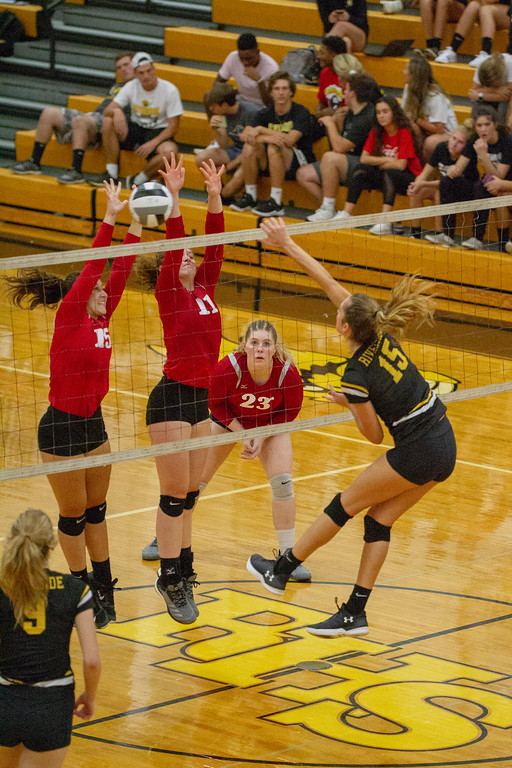 . Barry Booher - The News-Herald Chardon\'s (15) Erin Martin and (11) Isabelle LeMaster go up against Riverside\'s Jen Sivak.