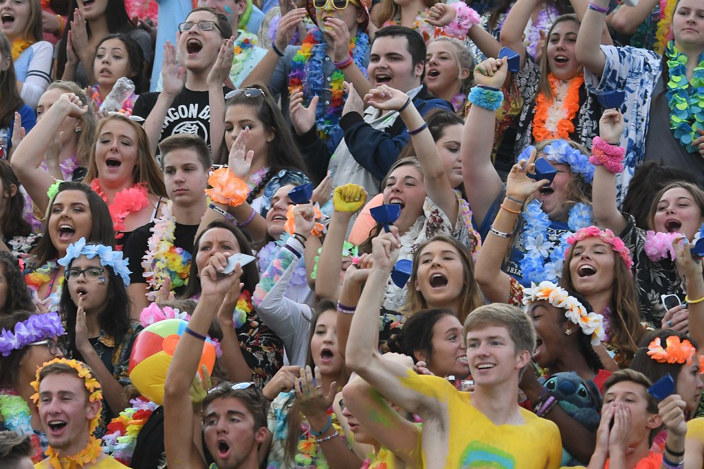 . Eric Bonzar�The Morning Journal<br> The Midview Middies\' student section gets rowdy before kicking off against the Amherst Comets, Sept. 15, 2017.