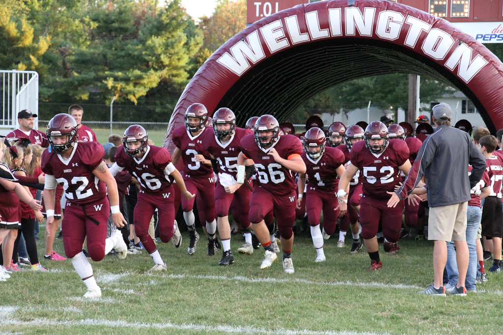 . Nicholas Pfeifer - The Morning Journal<br> The Wellington Dukes take the field against the Clearview Clippers on Sept. 15.