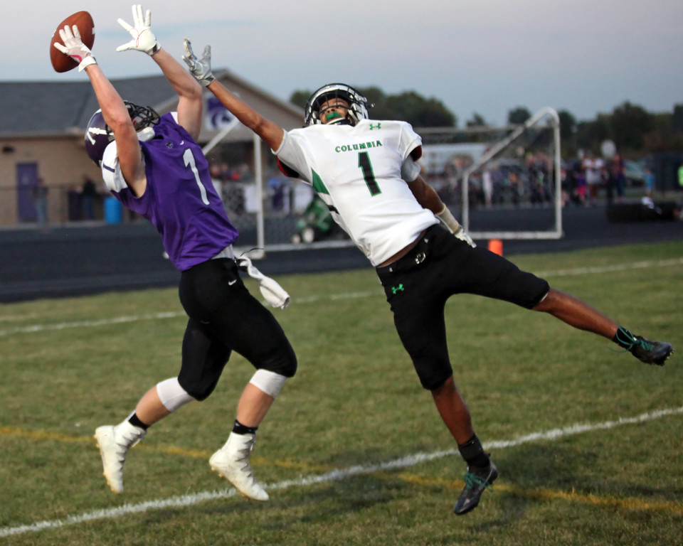 . Randy Meyers - The Morning Journal<br> Keystone\'s Justin Able goes up high for a pass in the endzone and Columbia\'s Bailey Coleman defends during the second quarter on Sept. 15.