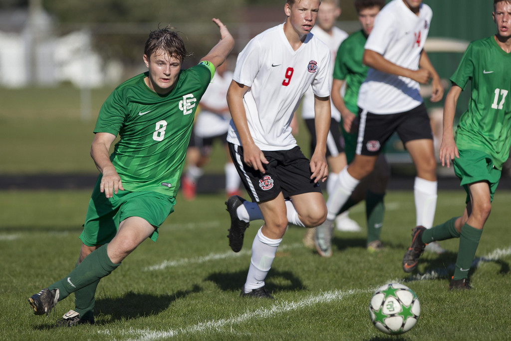 . Jen Forbus - The Morning Journal Panther defender Jonathan Woodyard sends the ball down the pitch.