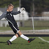 Jen Forbus - The Morning Journal<br /> Elyria goalkeeper Logan Boddy gives the ball a boot in the Pioneer's game against the Elyria Catholic Panthers September 15.