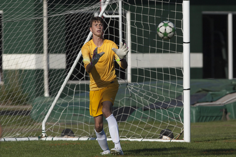Jen Forbus - The Morning Journal<br /> Panther goalkeeper Bryce Hileman makes a save on goal.