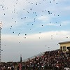 Randy Meyers - The Morning Journal<br /> Blue balloons were launched by the Amherst grandstand in memory of fallen officers during Friday night's football game.