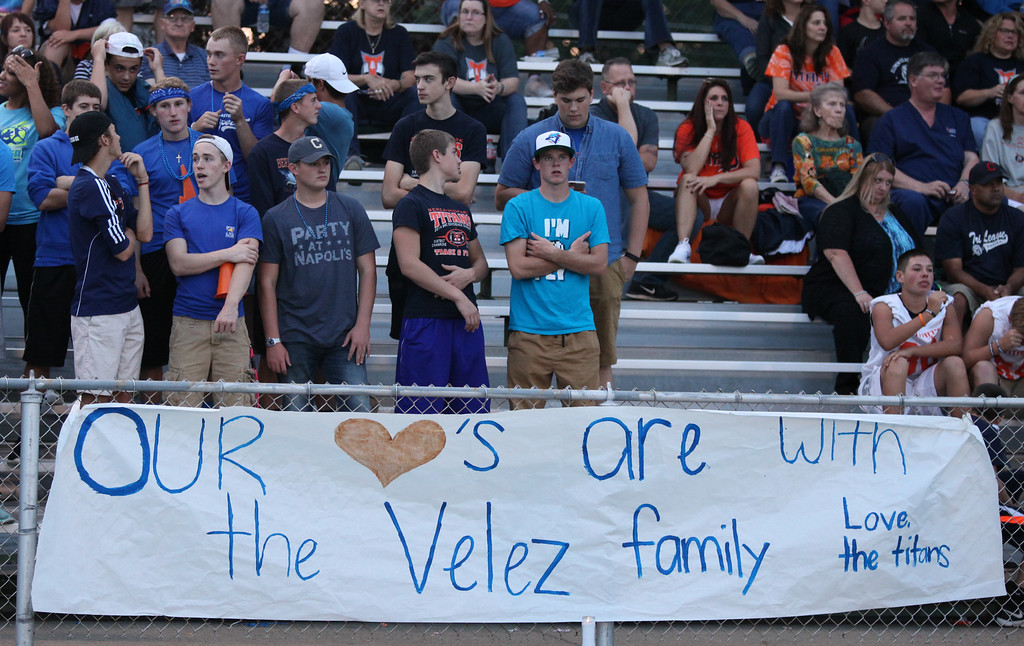 . Randy Meyers - The Morning Journal Berea-Midpark students also show support for the fallen officer during Friday night\'s football game.