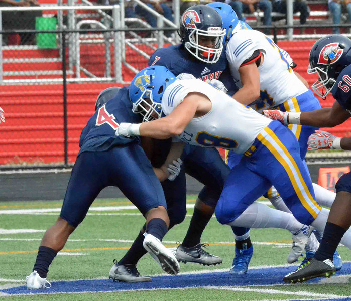 Paul DiCicco - The News-Herald<br />  Senior Outside Linebacker, Ryan Lebanc, dropping a CCC running back for a loss during NDCL's victory over Cleveland Central Catholic on Sept. 17.