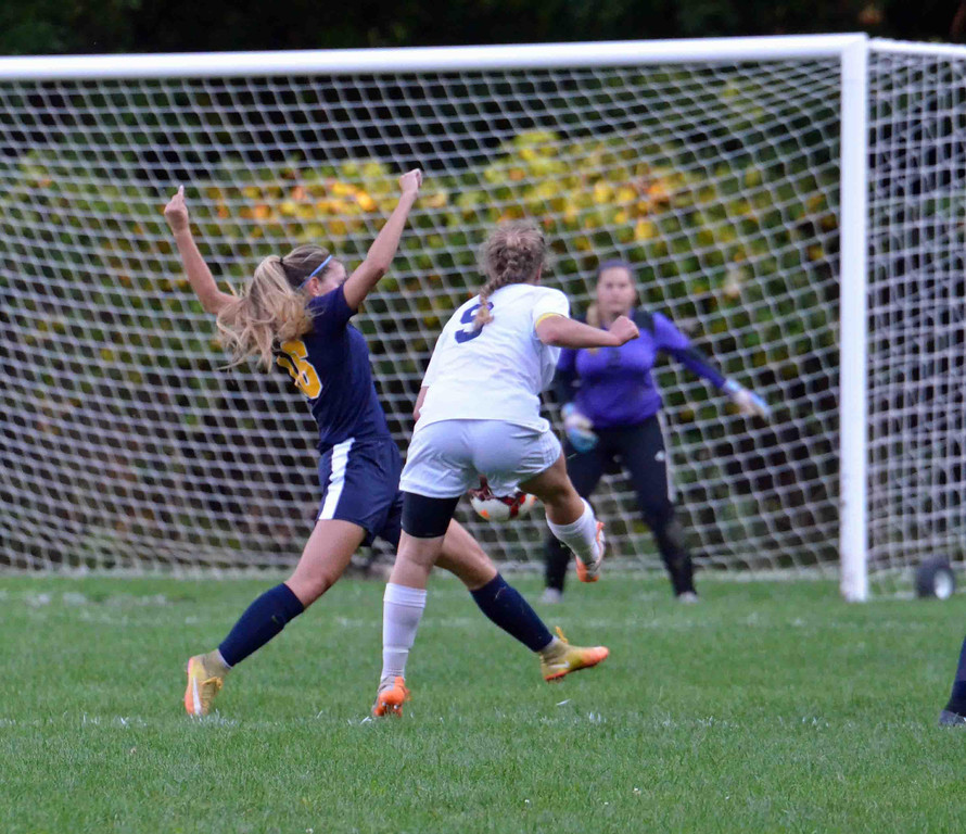 . Paul DiCicco - The News-Herald Kirtland Senior, Hannah Vouk, fires a ball at the goal mid-way through the second half of play against Wickliffe at Kirtland on Sept 18.