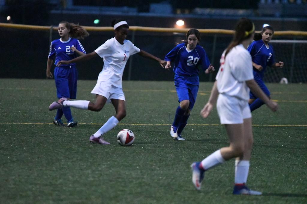 . Patrick Hopkins Action from the VASJ-Fuchs Mizrachi girls soccer match on Sept. 18 at Euclid. VASJ\'s Melania Mitchell scored five goals.