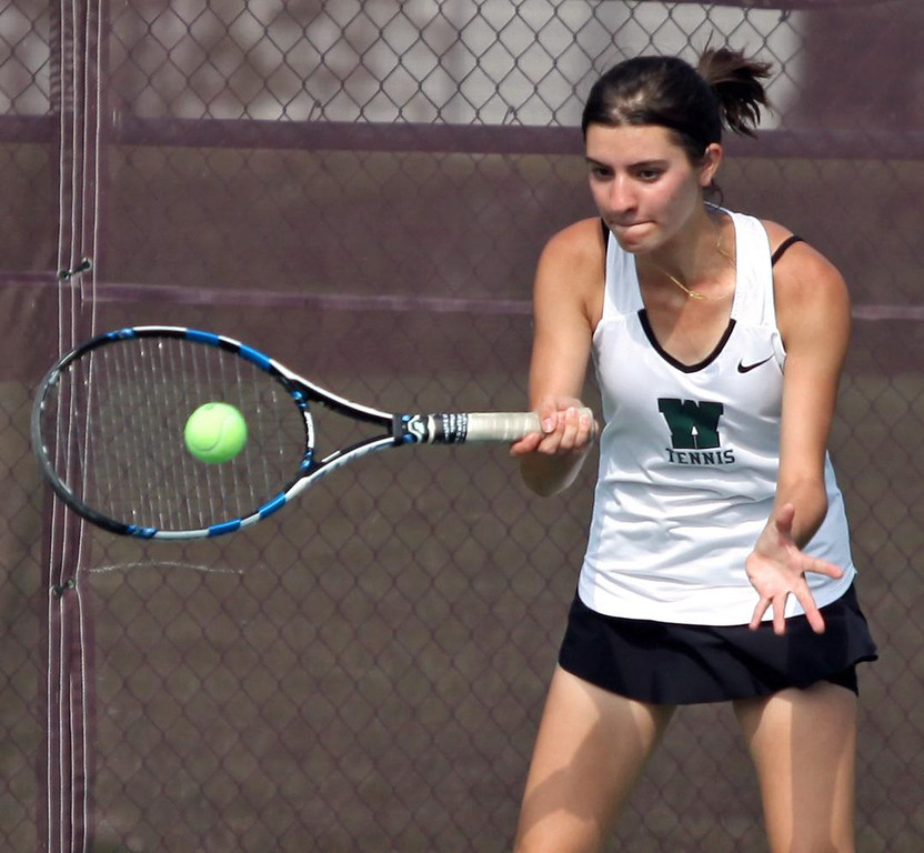 . Randy Meyers - The Morning Journal Westlake\'s Sophia Ricaurte returns  a volley against Avon in a doubles match at the SWC Tournament on  Monday
