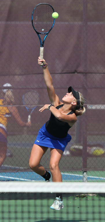 . Randy Meyers - The Morning Journal Midview\'s Tessa Pickering serves  against North Olmsted at the SWC Tournament on Monday