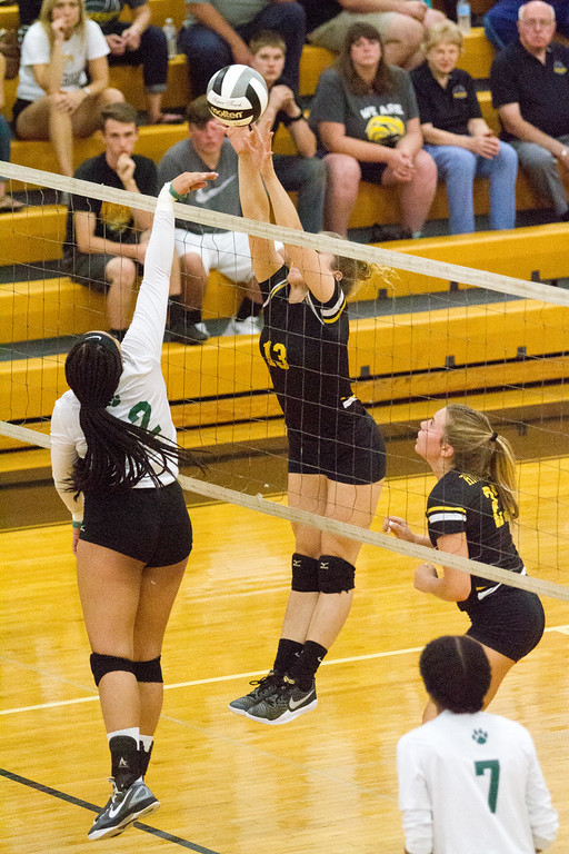 . Barry Booher - The News-Herald Riverside\'s Gabby Huck goes for the block on Bedford\'s Chamar Johnson.