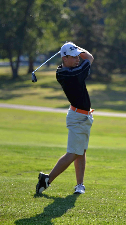. Paul DiCicco - The News-Herald North Junior, Jack Sheehan, approach shot to the green at Manikiki Golf Course on Sept 21.