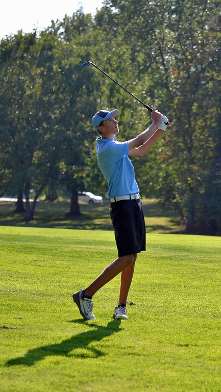 . Paul DiCicco - The News-Herald South Sophomore, Antonio Bodzioni, admires his second shot on hole 3 at Manakiki Golf Course on Sept 21.