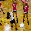 Barry Booher - The News-Herald<br /> South's (18) Isa Luciano and (13) Melissa Groudle, go up against Riverside's Grace Nagy.
