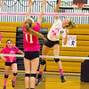 Barry Booher - The News-Herald<br /> Riverside's Jen Durra, prepares to spike against South's Jessica Schwartz.  Riverside won the matchup three games to two.