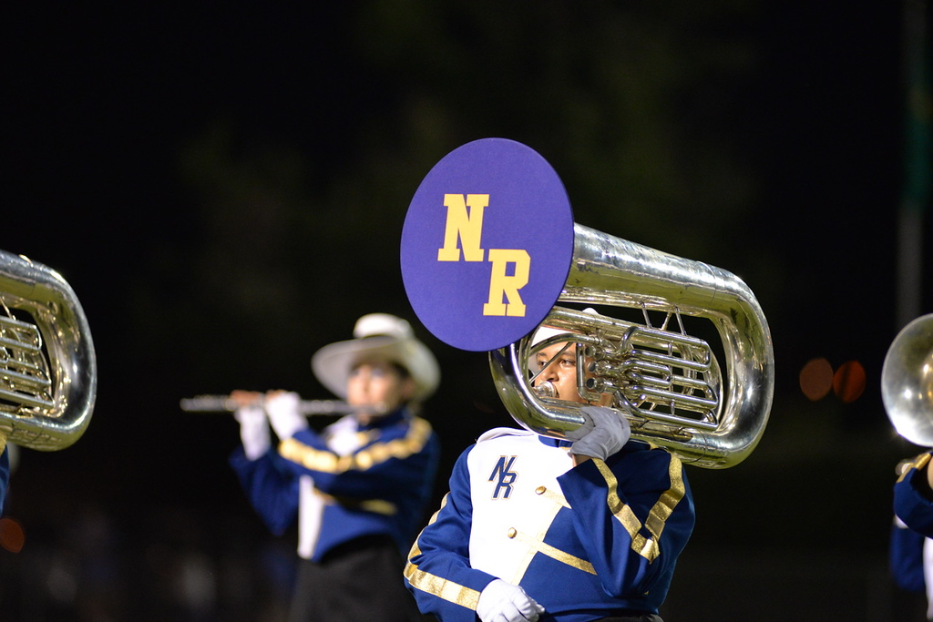 . Aimee Bielozer - The Morning Journal<br> A member of the North Ridgeville band plays during halftim on Sept. 22.