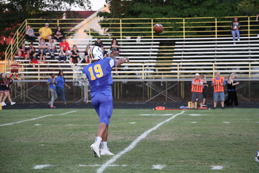 . Nicholas Pfeifer - The Morning Journal<br> Clearview\'s Anthony Terry delivers a strike for a Clippers two point conversion against Brookside on Sept. 22.