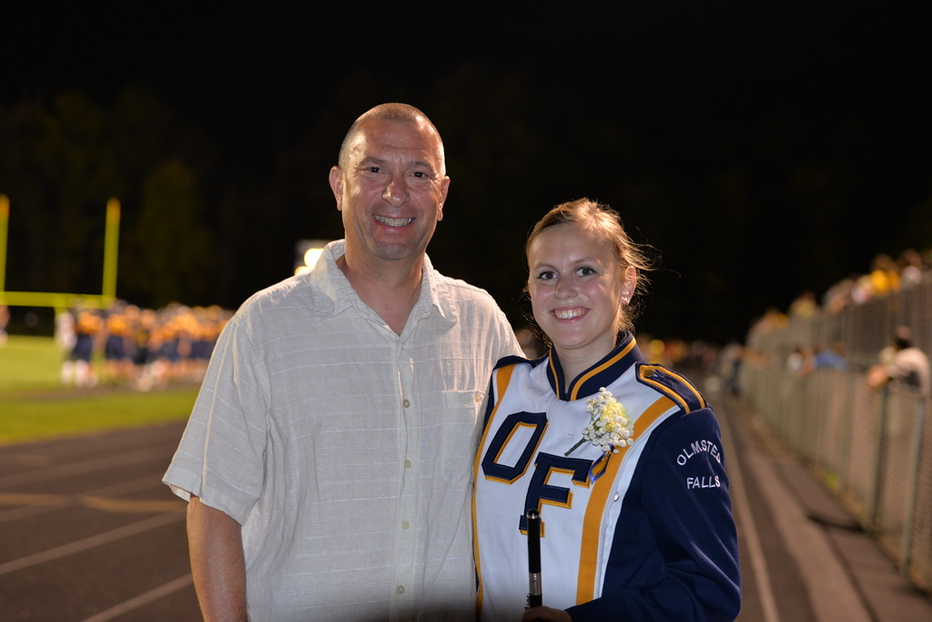 . Aimee Bielozer - The Morning Journal<br> Band member Jessica Fenary poses with her dad, Dennis, on Sept. 22.