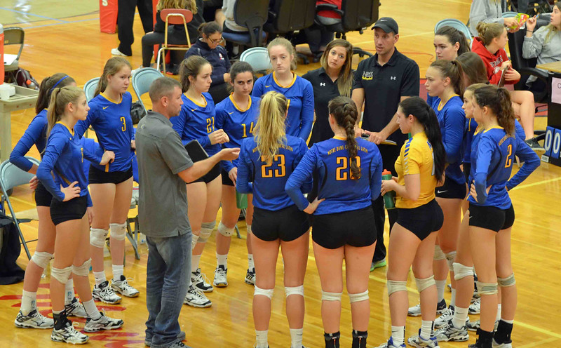 Paul DiCicco - The News-Herald<br /> NDCL during a timeout at the NEO Power tournament on Sept. 25 at Mentor.