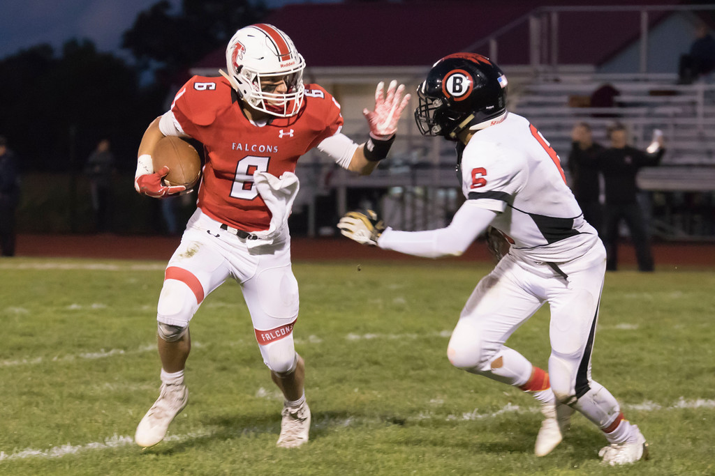 . Jen Forbus - The Morning Journal<br> Firelands Logan Strader faces Brookside linebacker Owen Rozanc on Sept. 29.