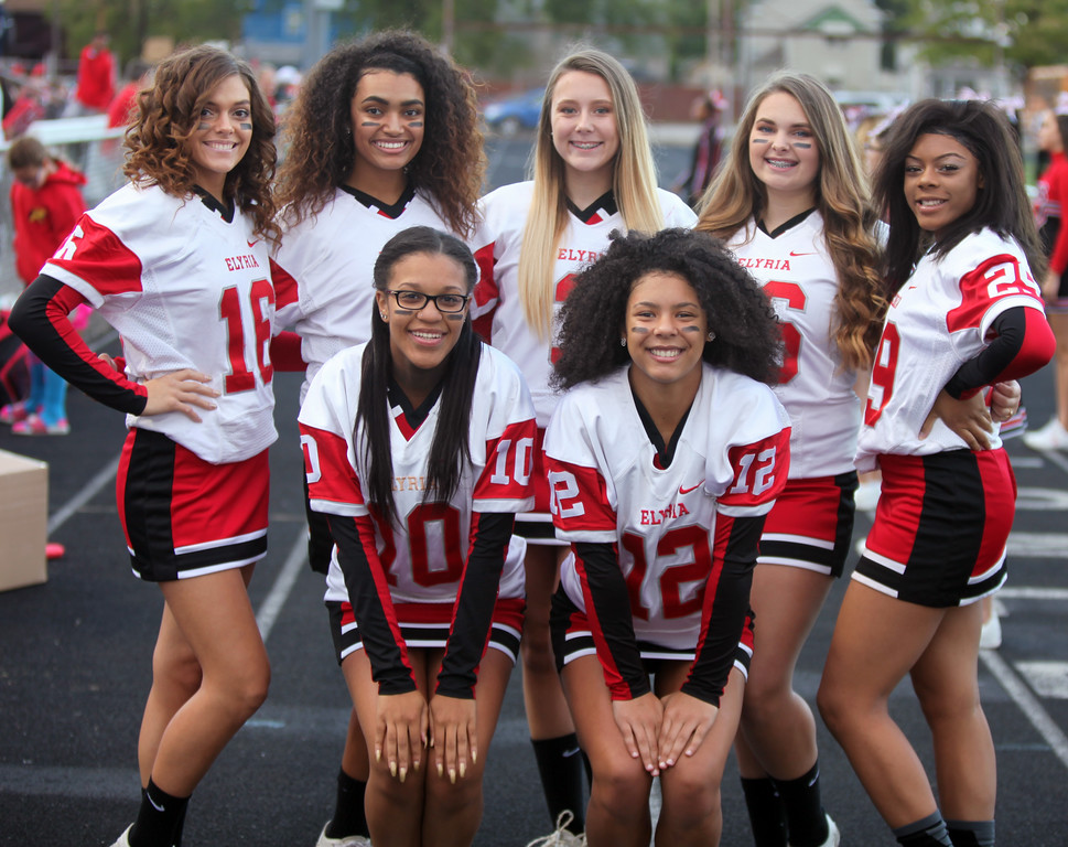 . Randy Meyers - The Morning Journal<br> Elyria\'s cheerleaders pose for a photo prior to Thursday\'s game against Shaker Heights.